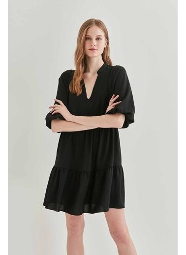 Vitrin V Yaka Balon Kol Geniş Kesim Elbise Siyah